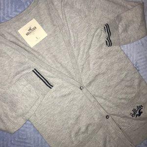 💟🚺 Hollister Gray Elbow Sleeved Cardigan
